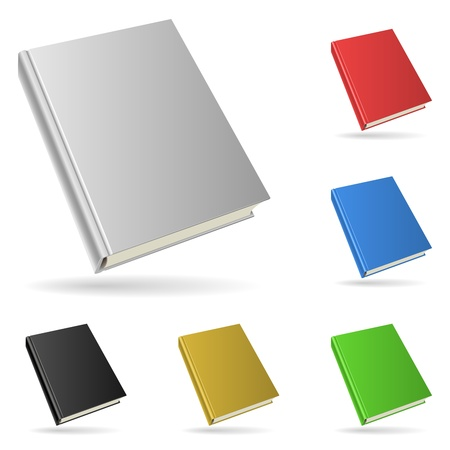 Hardcover book isolated on white background with color variants