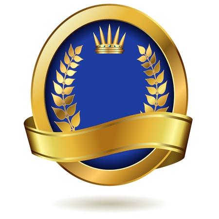 Lege gouden koninklijke label geïsoleerd op wit