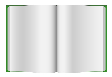 copy book: Green opened hardcover book isolated on white background