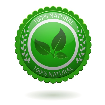 100  natural green label isolated on white  EPS10 file  Vector