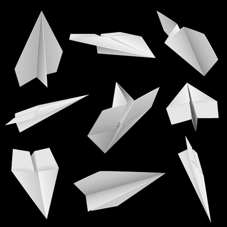 swooping: Paper planes on black background illustration