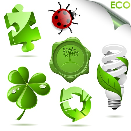 Set of 3D eco symbols isolated on white  Vector