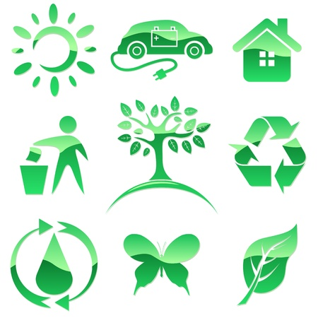 Glossy green icons  Nature protection symbols Stock Vector - 19975717
