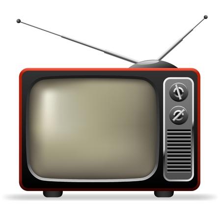 Retro TV set realistic illustration