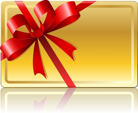 Blank golden gift card with ribbon isolated on white background  Vector