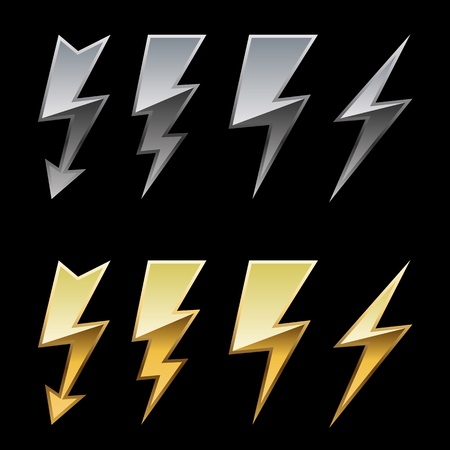 Chrome and golden lightning icons isolated on black background Stock Vector - 19975788