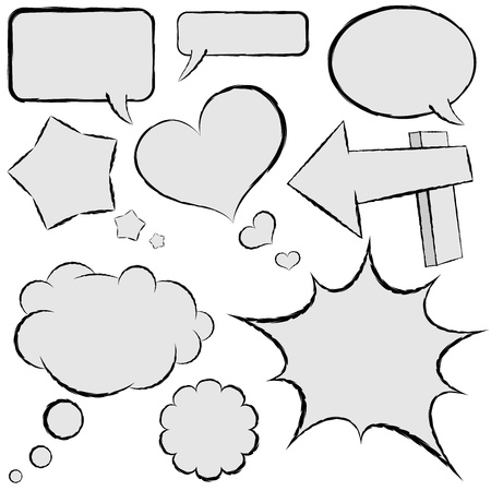 Collection of comic speech bubbles in hand drawn style  Vector