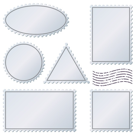 Blank postage stamps set isolated on white Stock Vector - 19975792