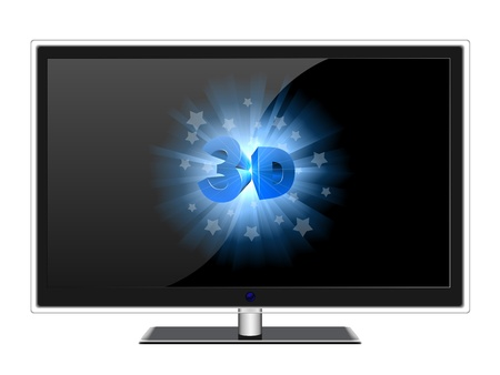 Wide screen modern TV with 3D sign isolated on white  Stock Vector - 19975809