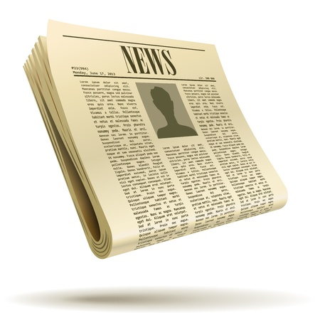Newspaper realistic illustration isolated on white background