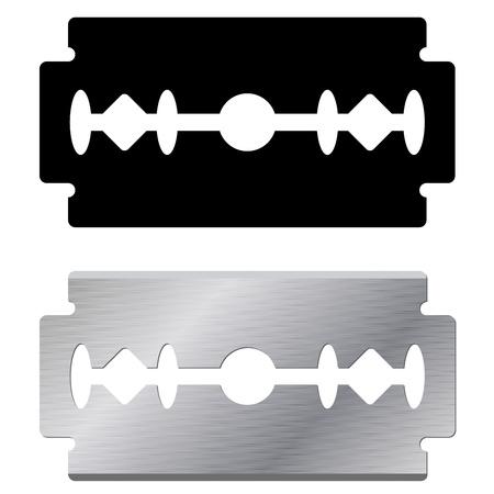標準的なかみそりの刃形状と白い背景で隔離の現実的な図  イラスト・ベクター素材