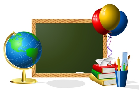 Blank blackboard with school accessories with copy space for your text Stock Vector - 21394837
