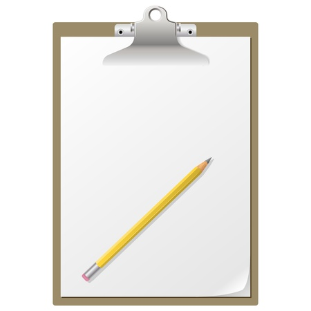 Blank paper on clipboard with pencil isolated on white background  Vector
