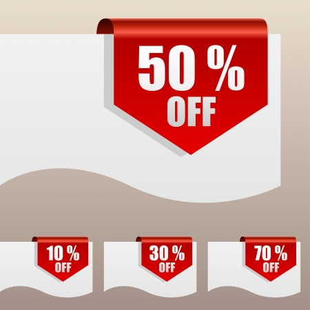 hot price: Red discount labels bent around paper edge
