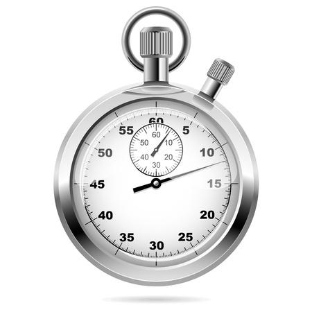 cronometro: Mecánico cromado cronómetro ilustración vectorial Vista frontal Retro