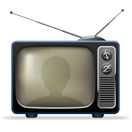 Retro TV met kijker reflectie
