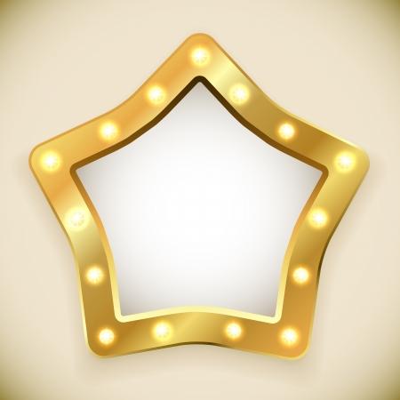 Blank golden star frame with light bulbs vector illustration