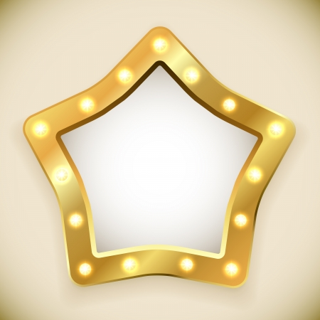 Blank golden star frame with light bulbs vector illustration