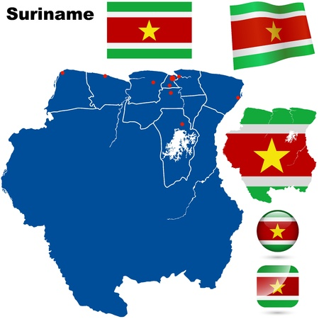 suriname: Suriname vector set  Detailed country shape with region borders, flags and icons isolated on white background