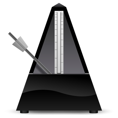 tact: Black metronome isolated on white background vector illustration