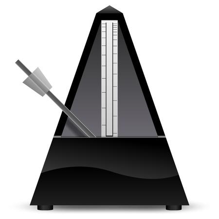 reloj de pendulo: Metrónomo negro aislado en el fondo blanco ilustración vectorial
