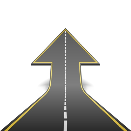 road ahead: Straight road turning into ascending arrow concept vector illustration