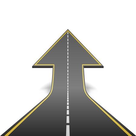 Tournant route droite en flèche ascendante concept illustration vectorielle Banque d'images - 21216092