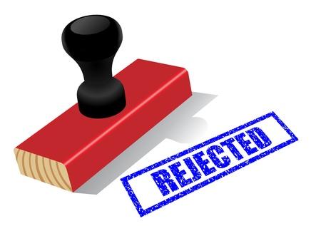 """impress: Legno timbro di gomma con """"Rejected"""" Impress isolato su sfondo bianco"""