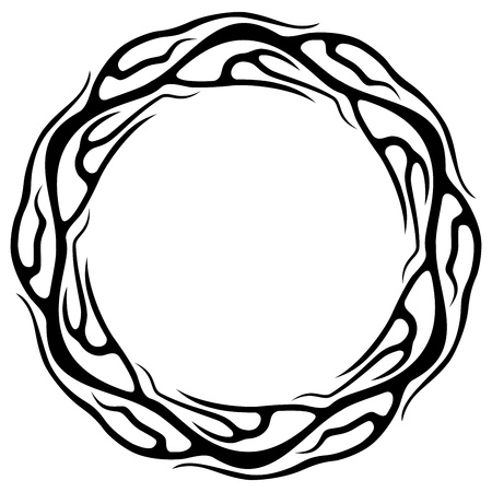 ring of fire: Abstract tattoo ring isolated on white background vector illustration