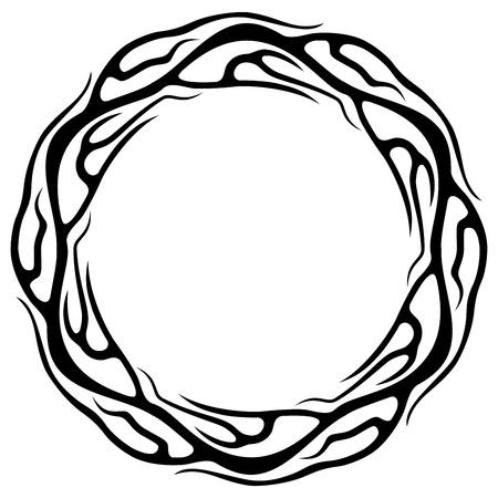 fire ring: Resumen anillo tatuaje aislado en el fondo blanco ilustraci�n vectorial Vectores