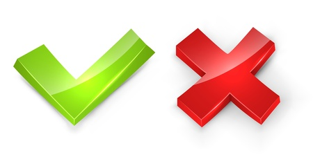 the concept is correct: Concaved 3D tick and cross signs isolated on white background