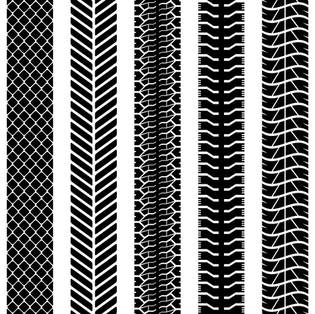 rut: Black and white seamless truck tyre tracks vector template  Illustration