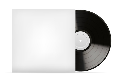 vynil: Blank white vinyl cover vector template  isolated on white background