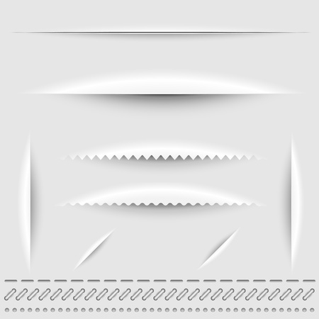 Paper cut, stitch and perforation dividers vector template