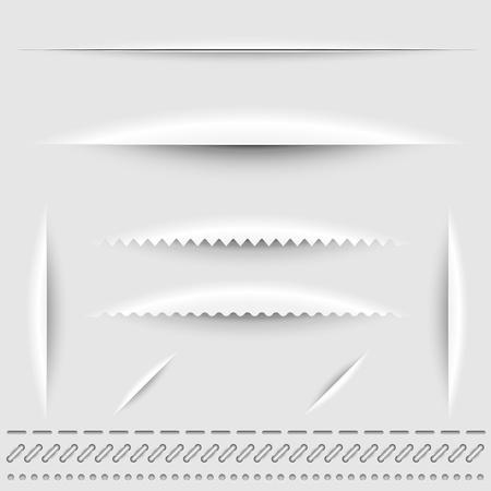 lineas verticales: Corte del papel, de punto de perforaci�n y divisores plantilla vector