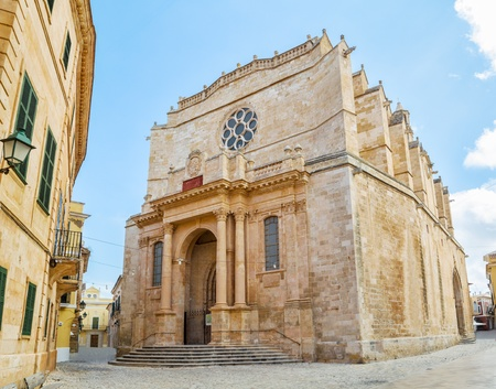 neoclassic: Old Santa Maria Cathedral at Ciutadella, Menorca island, Spain  It was being built between 1300 and 1362  The main facade in neo-classic style was constructed in 1813