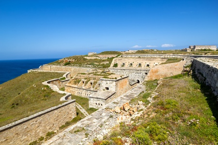 baleares: La Mola Fortress of Isabel II at Menorca island, Spain  It was built between 1850 and 1875 at the mouth of Mahon port