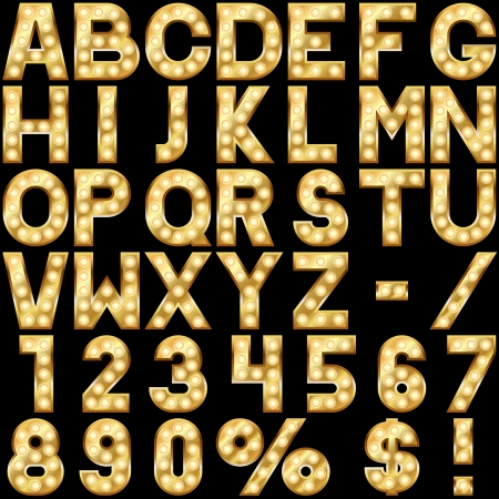 Golden alphabet with show lamps isolated on black background  Ilustracja