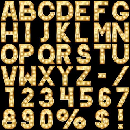 czcionki: Złoty alfabet z pokazu świateł samodzielnie na czarnym tle Ilustracja