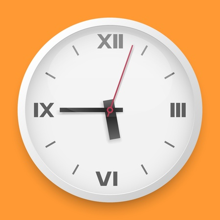 roman numerals: Round wall clock vector template with roman numerals