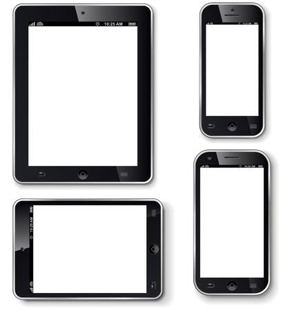 Mobiele telefoons en tablets met een leeg scherm realistische vector sjabloon