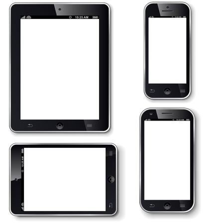 Mobile phones and tablets with blank screen realistic vector template
