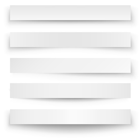 Header blank web banner shadow template isolated on white background  Vettoriali