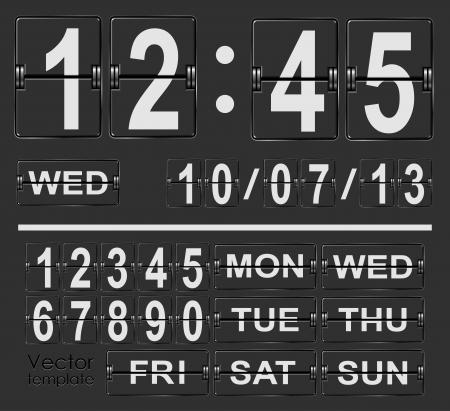 Tafel flip klok vector sjabloon met tijd en datum