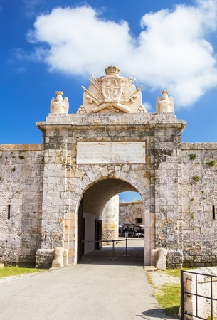 port isabel: Entrabce gate of La Mola Fortress of Isabel II at Menorca island, Spain  It was built between 1850 and 1875 at the mouth of Mahon port