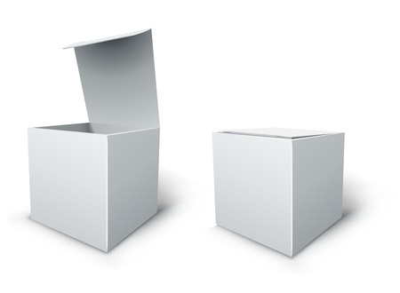 closed box: Blank white isolated cube box vector template