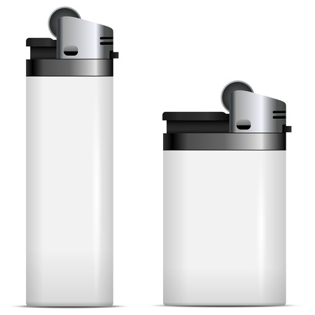 gas lighter: White blank lighters vector template isolated on white background
