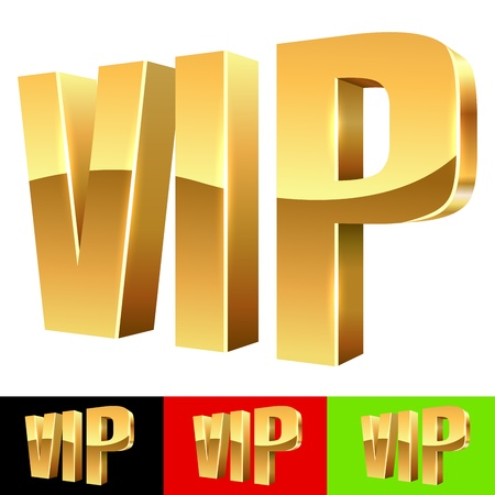 vip: Golden VIP abbreviation isolated on white with color background samples