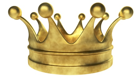 Old golden crown 3D render isolated on white background
