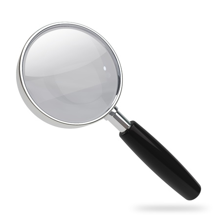 rim: Magnifying glass with chrome rim and black handle